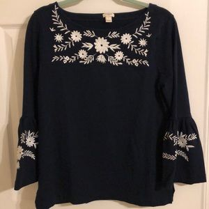 J crew women's navy top size medium
